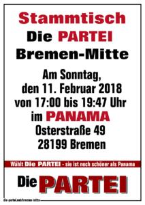 Stammtisch Die PARTEI Bremen-Mitte im Panama am 11.02.2018