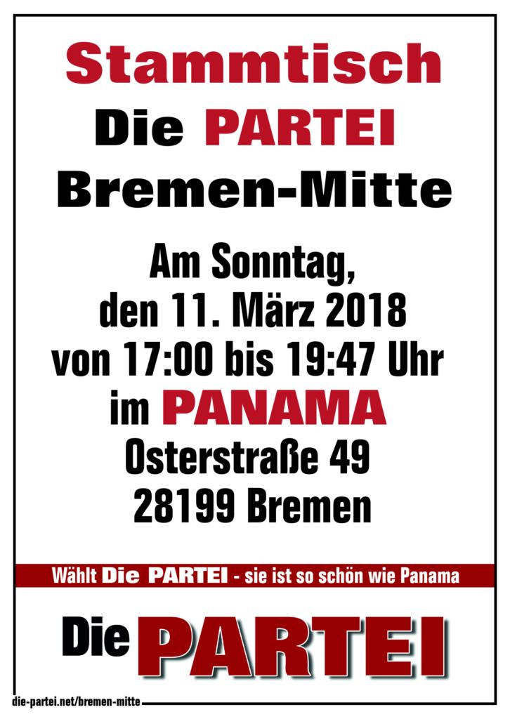 Die PARTEI Bremen Extreme-Mitte; Stammtisch im Panama 11. März 2018