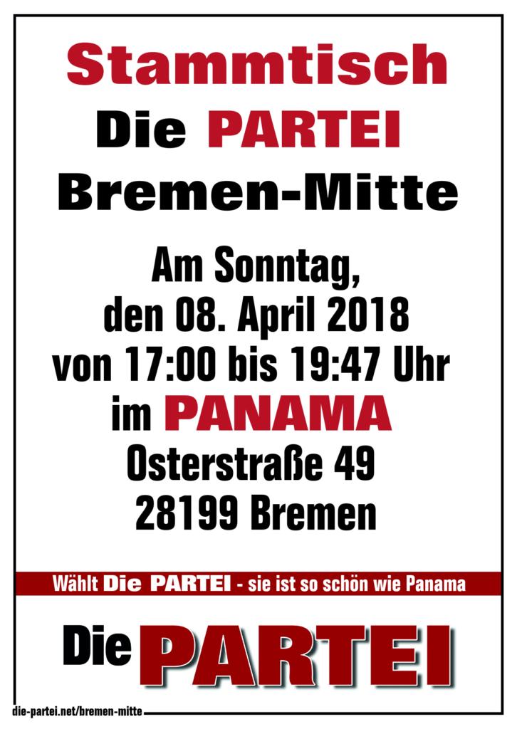 Dritter Stammtisch Die PARTEI Bremen Extreme-Mitte im Panama am 08. April 2018