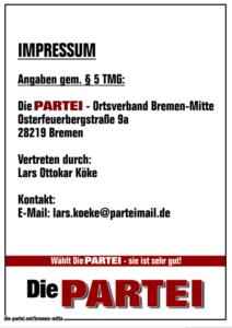 Die PARTEI Bremen-Mitte - Impressum
