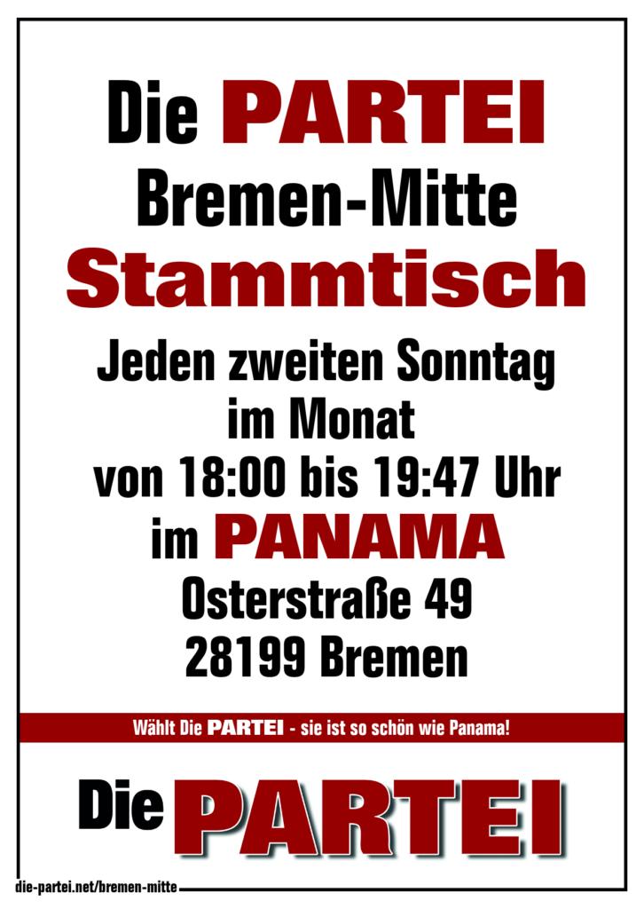 Die PARTEI Bremen-Mitte, jeden zweiten Sonntag im Monat Stammtisch im PANAMA.