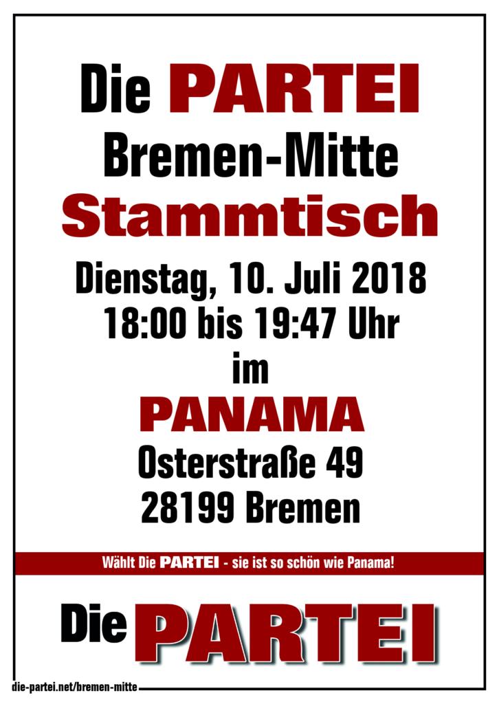 Die PARTEI Bremen-Mitte Stammtisch Panama Juli 2018