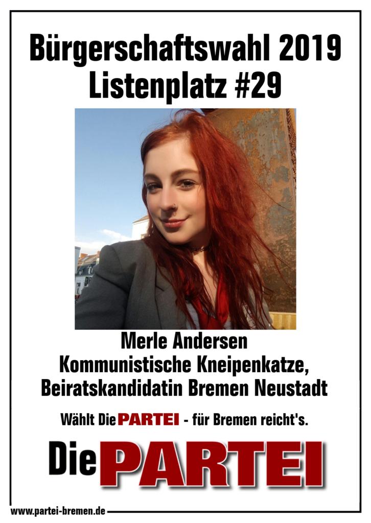 Merle Andersen - Die PARTEI Listenplatz #29 Bürgerschaftswahl Listenplatz #118 EU-Parlamentswahl