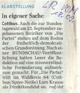 Lügen Rudi v. 18.9.2013 - Klarstellung