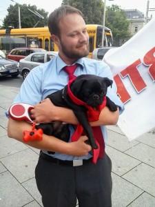 Sympathieheischendes Foto mit Mops und Krawatte.