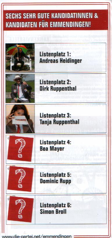 Liste 7 - Die PARTEI - Ortsverband Emmendingen Kommunalwahl 2019