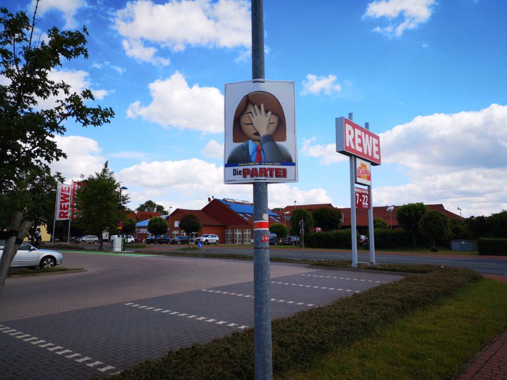 Hier hing auch ein CDU-Plakat!