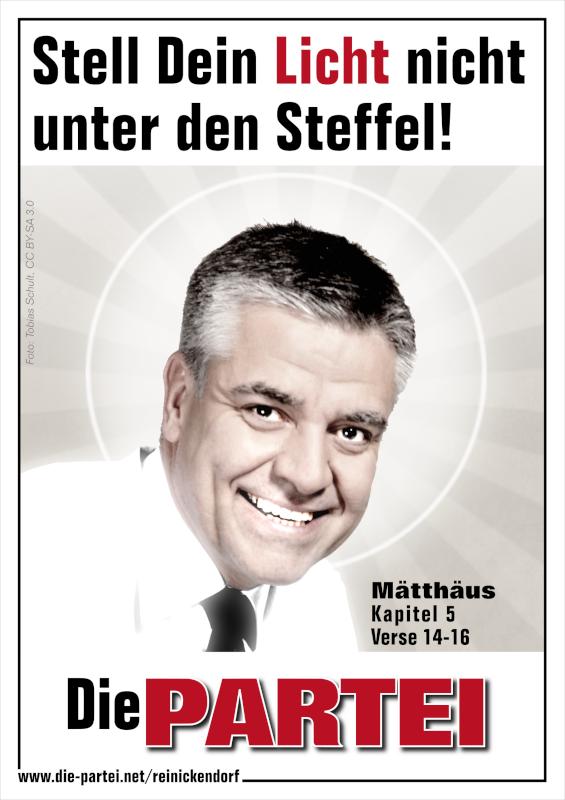 """Plakatmotiv: """"Stell Dein Licht nicht unter den Steffel!"""""""