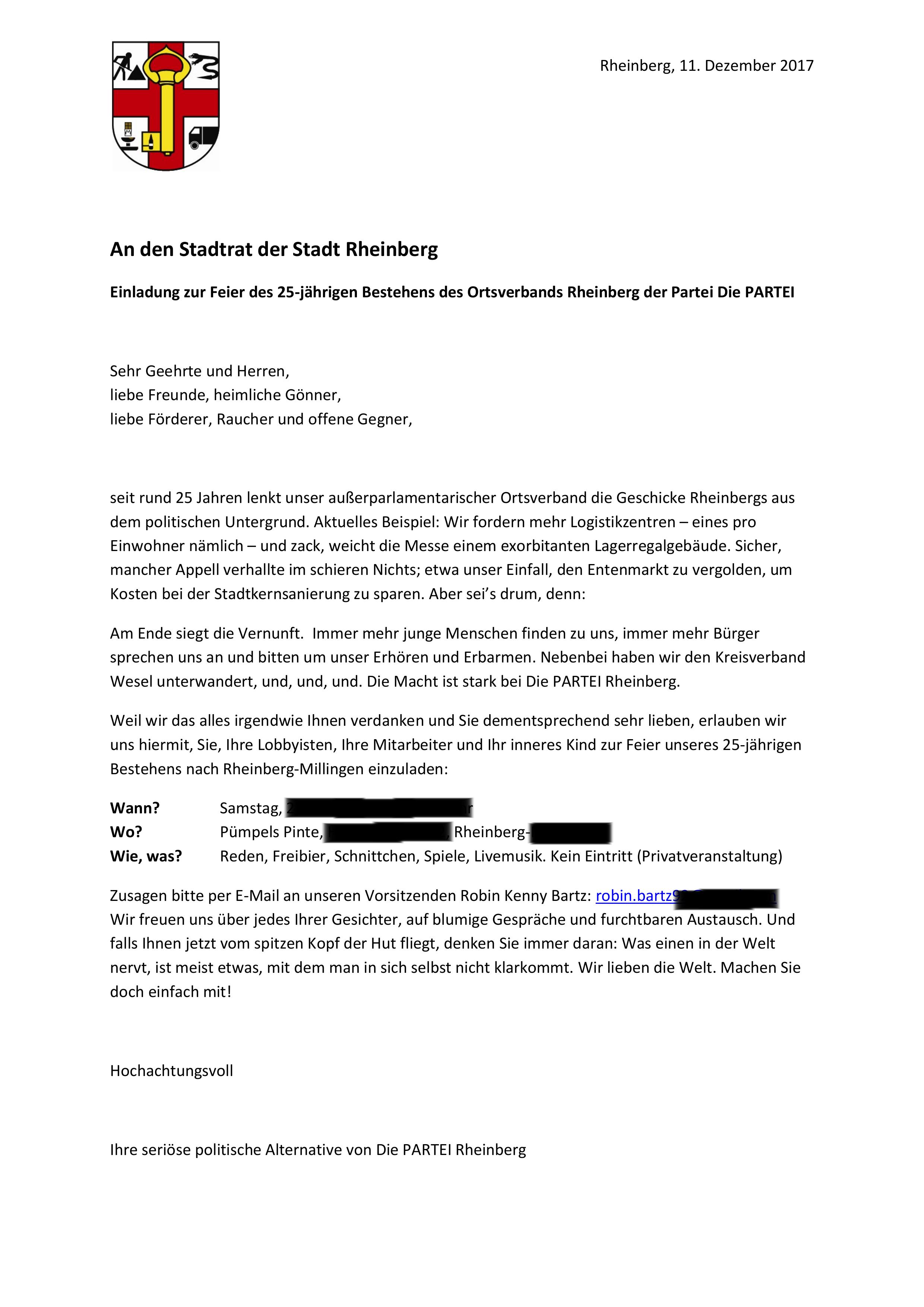 Offener Brief An Den Stadtrat Die Partei Rheinberg
