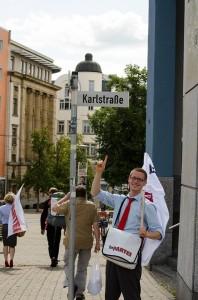 Karl Uhlmann, Vorsitzender des KV Dresden, hat seine Straße gefunden.