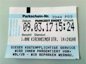 Parkschein Wernau
